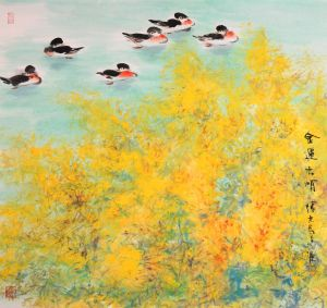 Zeitgenössische chinesische Kunst - Painting of Flowers and Birds in Traditional Chinese Style 2