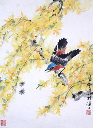 Zeitgenössische chinesische Kunst - Painting of Flowers and Birds in Traditional Chinese Style 3