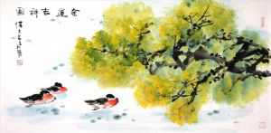 Zeitgenössische chinesische Kunst - Painting of Flowers and Birds in Traditional Chinese Style