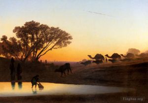 Sunset On The Nile scenery Charles Theodore Frere