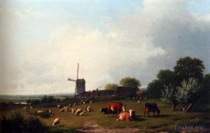 A Panoramic Summer Landscape With Cattle Grazing In A Meadow