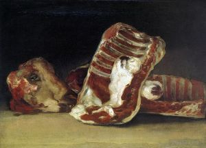 Francisco Goya Werk - Still life of Sheep Ribs and Head The Butcher conter