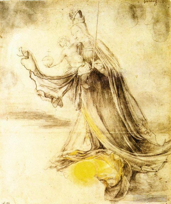 Matthias Grünewald Andere Malerei - Mary with the Sun below her Feet