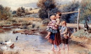 Children Paddling In A Stream
